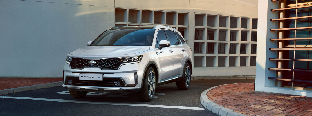 Front view of 2021 Kia Sorento getting out of parking