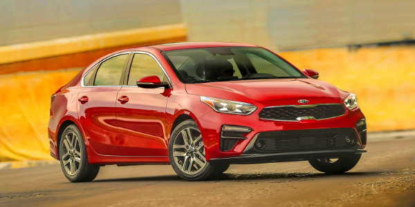 Front view of red 2020 Kia Forte