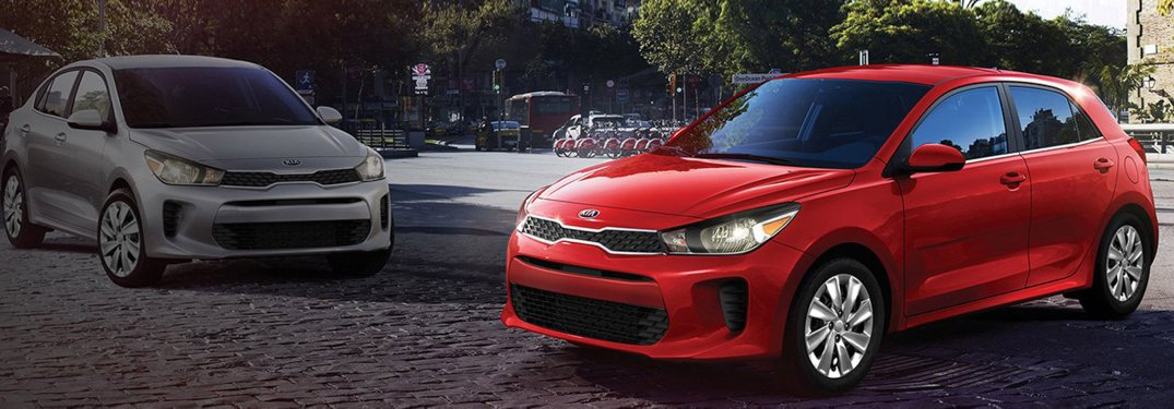 Two 2020 Kia Rio models parked next to each other