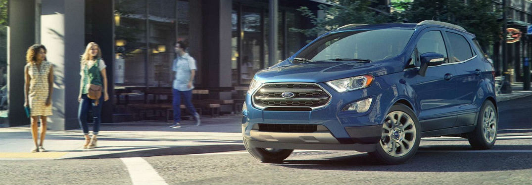 Driver's side exterior view of a blue 2018 Ford EcoSport
