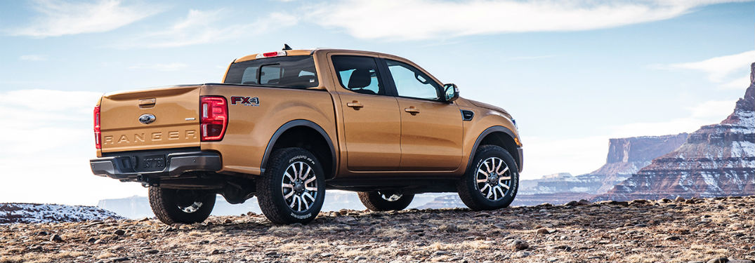 2019 Ford Ranger exterior back fascia and passenger side parked on canyon