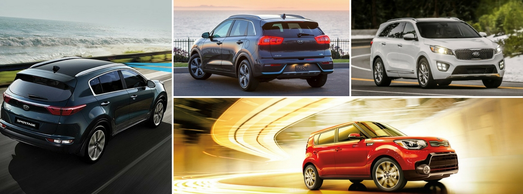 Collage of 2018 Kia crossover lineup with Soul, Niro, Sportage, and Sorento
