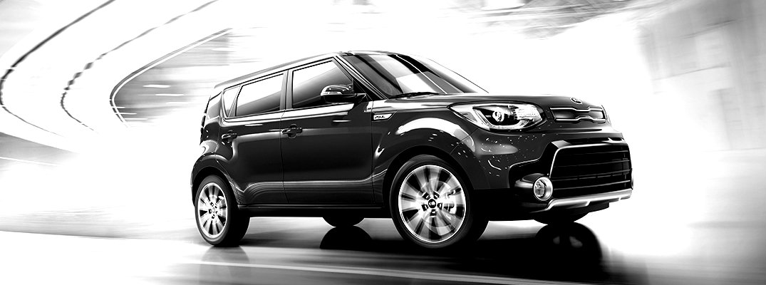 Black and white image of the Kia Soul