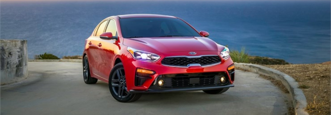 Front view of a red 2019 Kia Forte