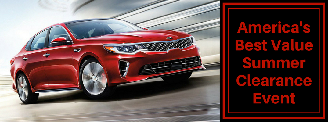 "Red 2018 Kia Optima with ""America's Best Value Clearance Event"""