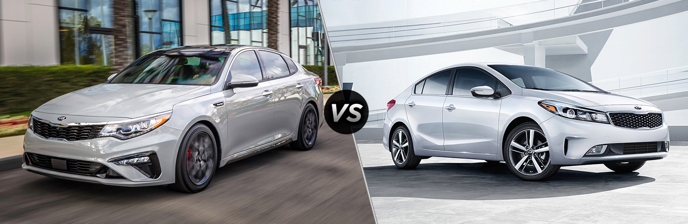 Comparison image of a silver 2019 Kia Forte and a silver 2018 Kia Forte