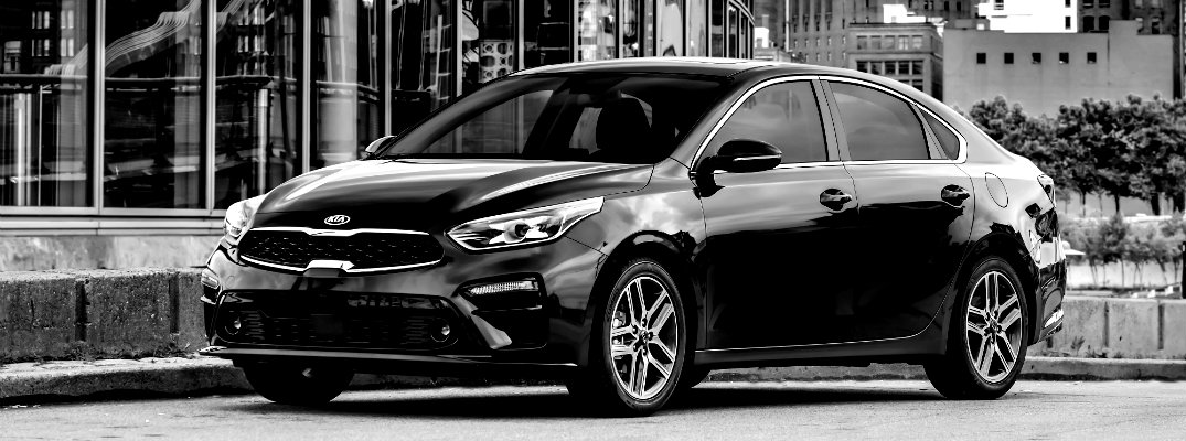 Black and white image of the 2019 Kia Forte