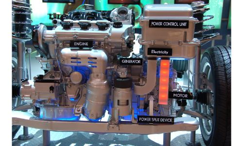 stock photo of labeled hybrid gas electric car engine and motor