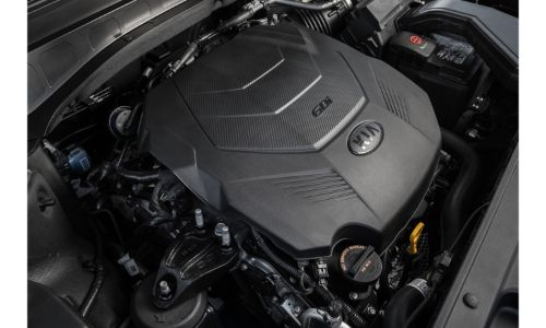 2021 Kia Telluride close up of engine compartment 2020 model shown