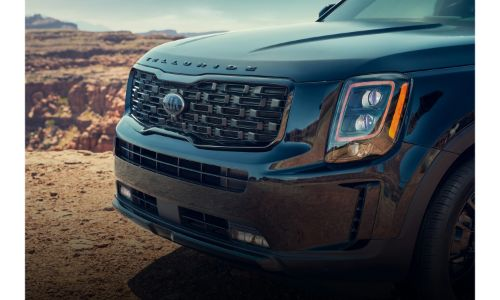 2021 Kia Telluride close up of grille and name badging