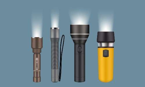 four flashlights lined up on