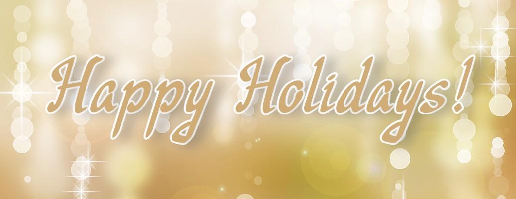 happy holidays on glittery lights background