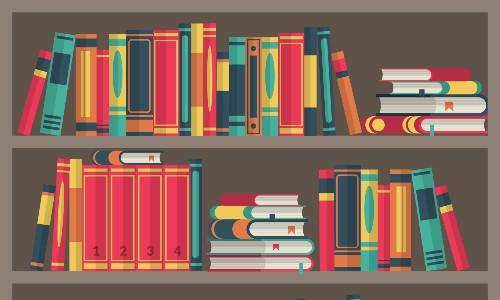 cartoon books on bookshelf