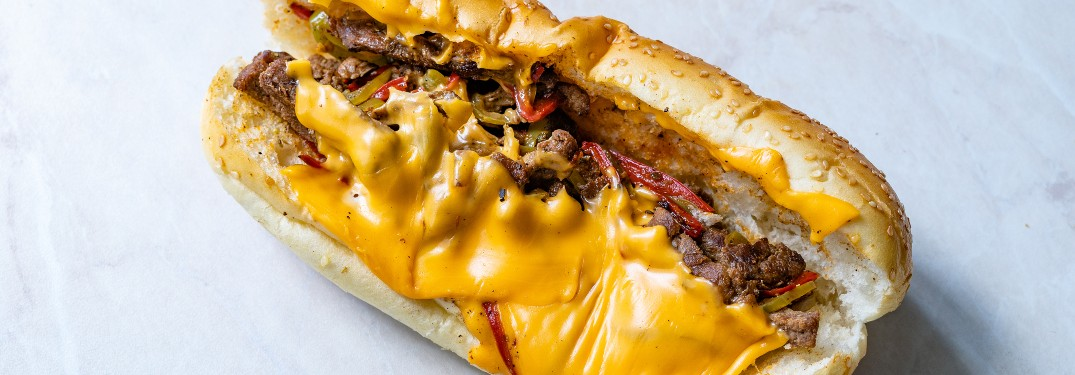 philly cheese steak on countertop