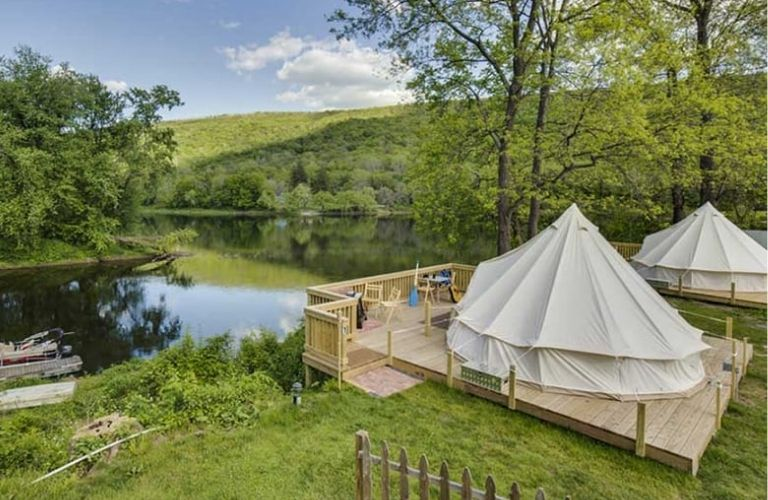 A view of riverside glamping at the Shawnee Inn and Golf Resort