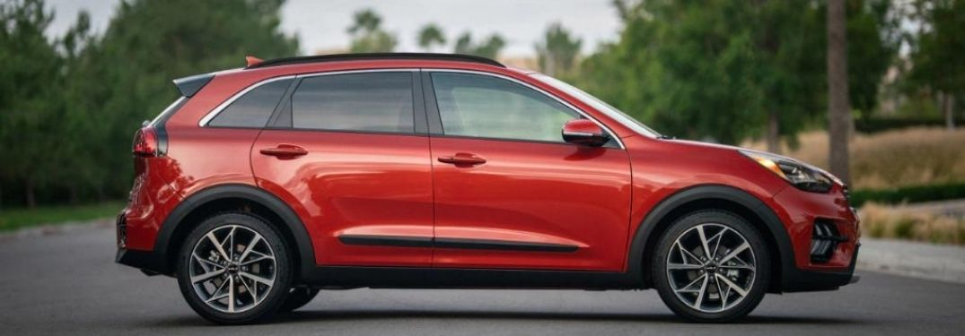 2022 Kia Niro EV Runway Red parked in the middle of the road