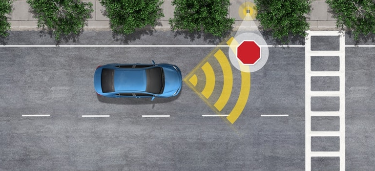 Toyota Safety Sense with Road Sign Assist on a blue car top view