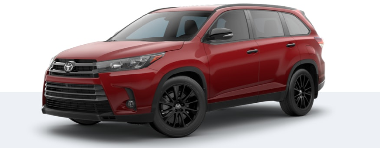 2019 Toyota Highlander Nightshade Edition side view Salsa Red Pearl