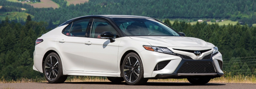 2019 Toyota Camry XSE white side view