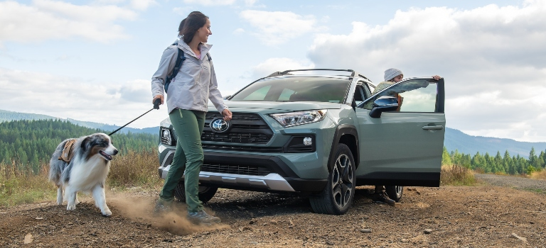 2019 Toyota RAV4 green front view with people and a dog
