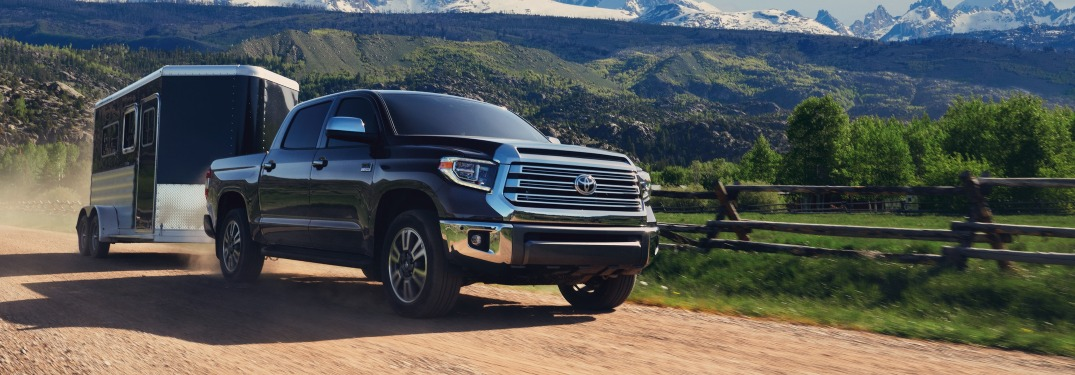 2020 Toyota Tundra black front view towing a trailer