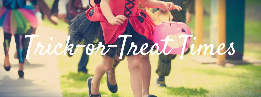 Trick or treat times with kids in costume