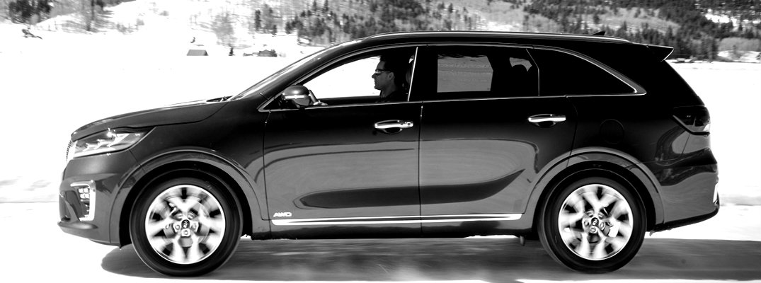 Black and white image of 2019 Kia Sorento