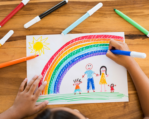 Marker-drawn picture of a family under a rainbow