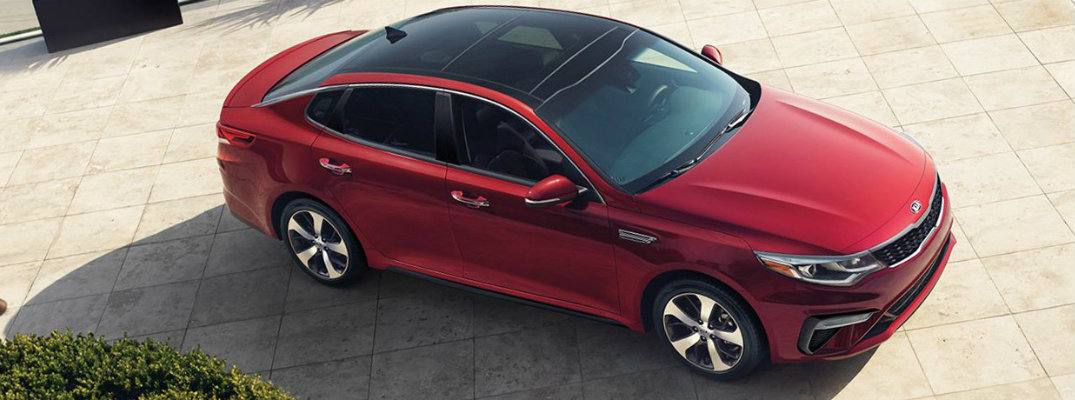 Birds-eye view of a red 2019 Kia Optima