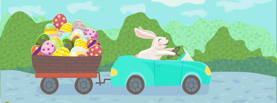 Easter Bunny Driving a Car