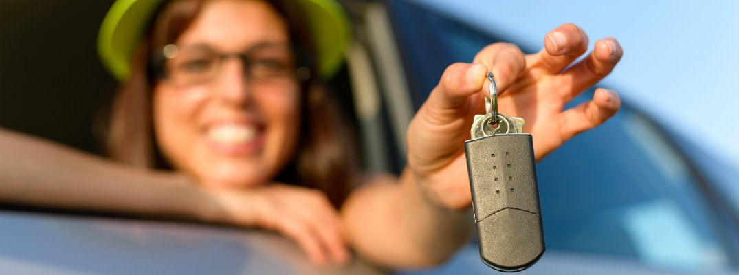 Woman with a set of car keys