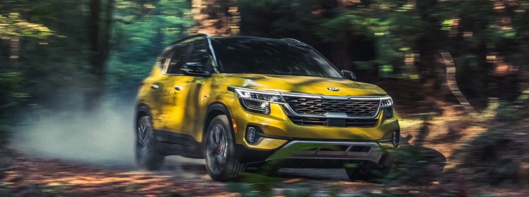 Yellow 2021 Kia Seltos in the woods
