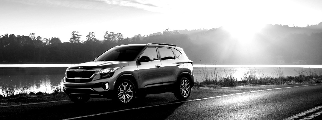 Black and white image of the 2021 Kia Seltos