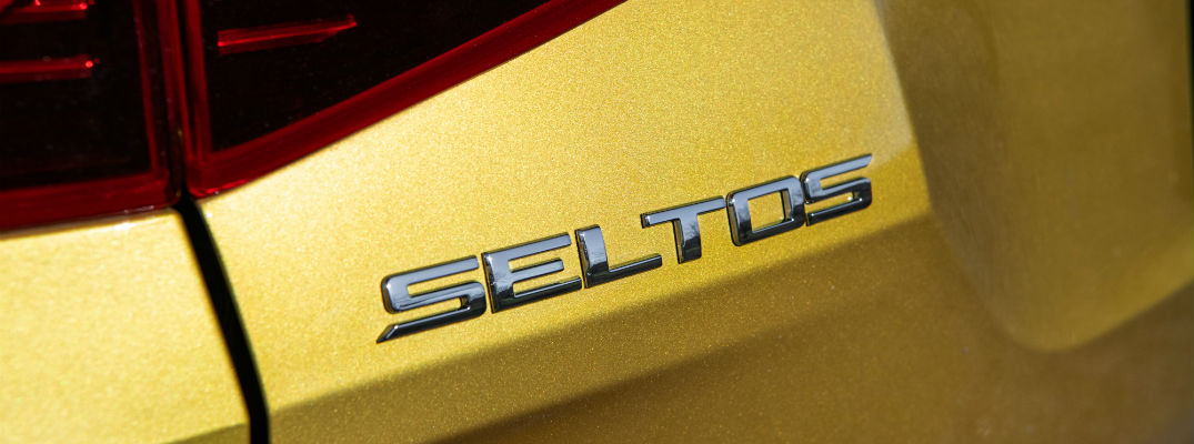 A photo of the Seltos badge used on the back of the 2021 Kia Seltos.