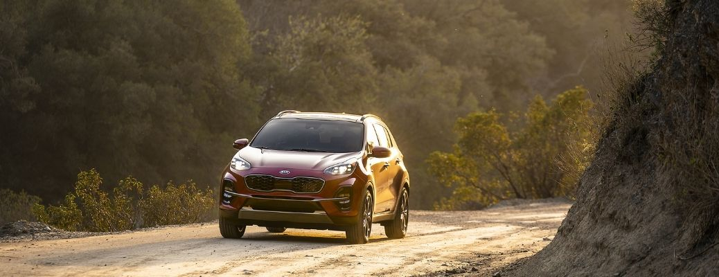 Front view of the 2022 Kia Sportage shining in sunlight