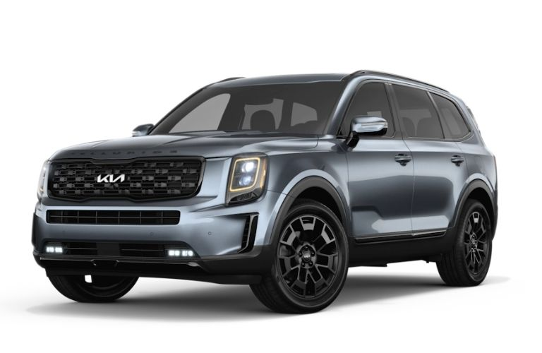 Front view of the 2022 Kia Telluride in Everlasting Silver