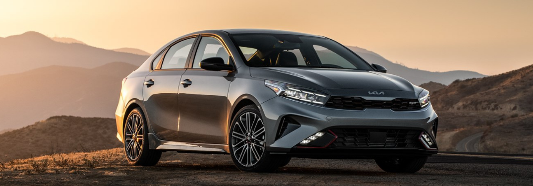 2022 Kia Forte parked at a place during sunset