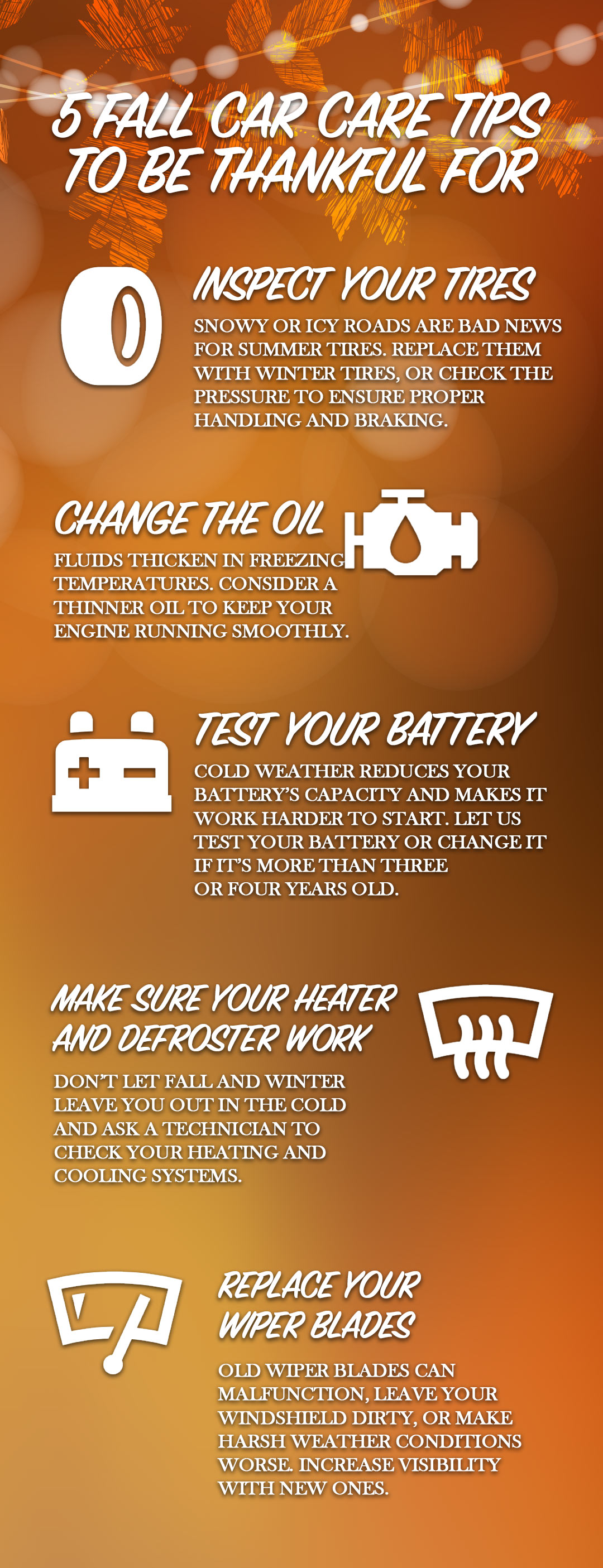 An infographic outlining five five fall car care tips
