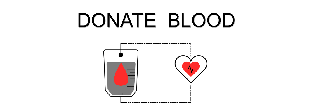 Blood Drive text with graphic of a blood bag and a heart