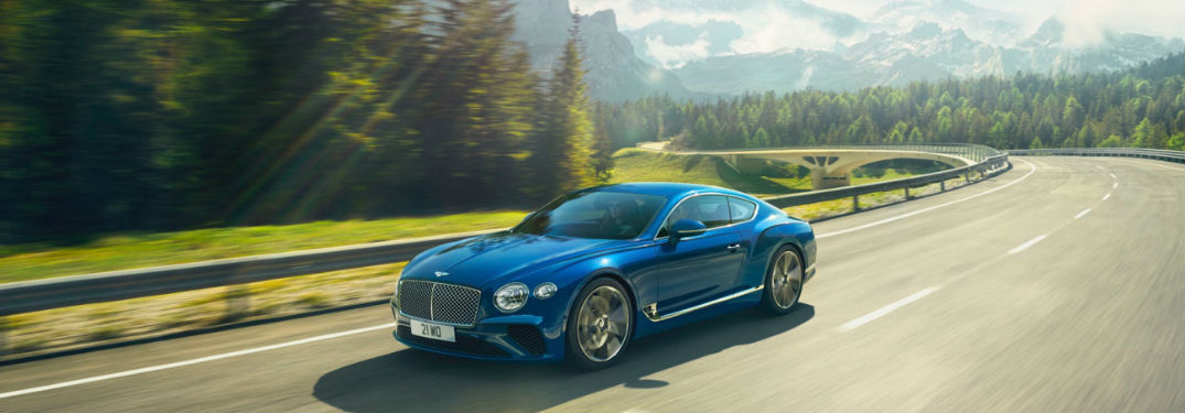 Bentley Continental driving on a country road