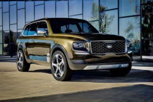 2020 Kia Telluride in front of a modern building