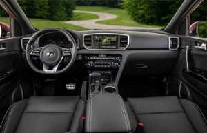 2020 Kia Sportage steering wheel and front seats