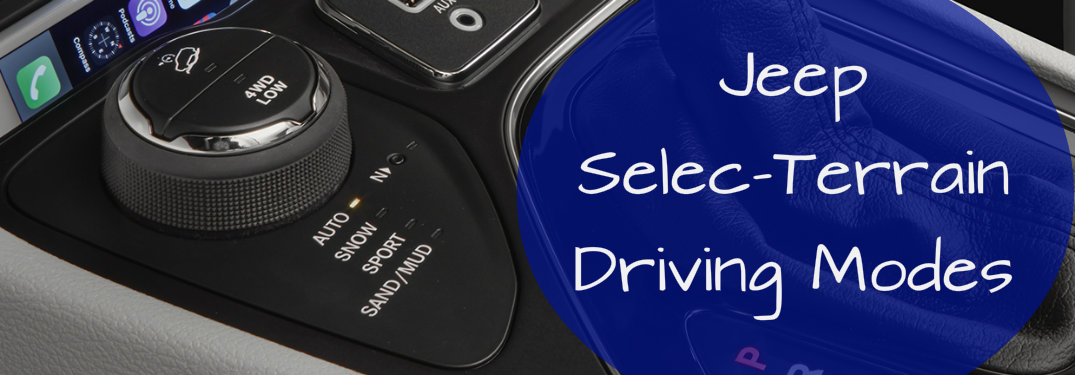 Jeep Select-Terrain driving mode selector in the central console with a caption
