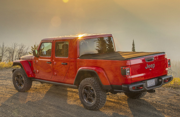 side and rear view of a red 2020 Jeep Gladiator