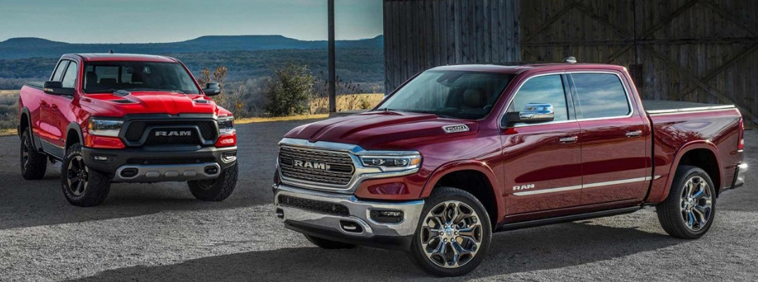 Red 2019 Ram 1500 and maroon 2019 Ram 1500