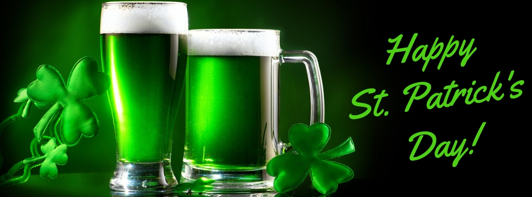 Two green beers and floating three-leaf clovers with green Happy St. Patrick's Day text