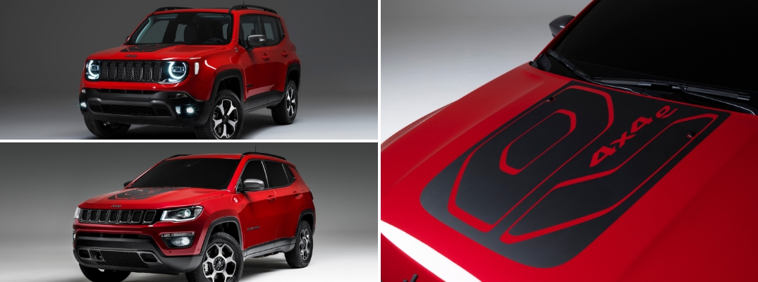 Red Jeep Compass Plug-in Hybrid, red Jeep Renegade Plug-in Hybrid, and hood of Jeep Compass Plug-in Hybrid