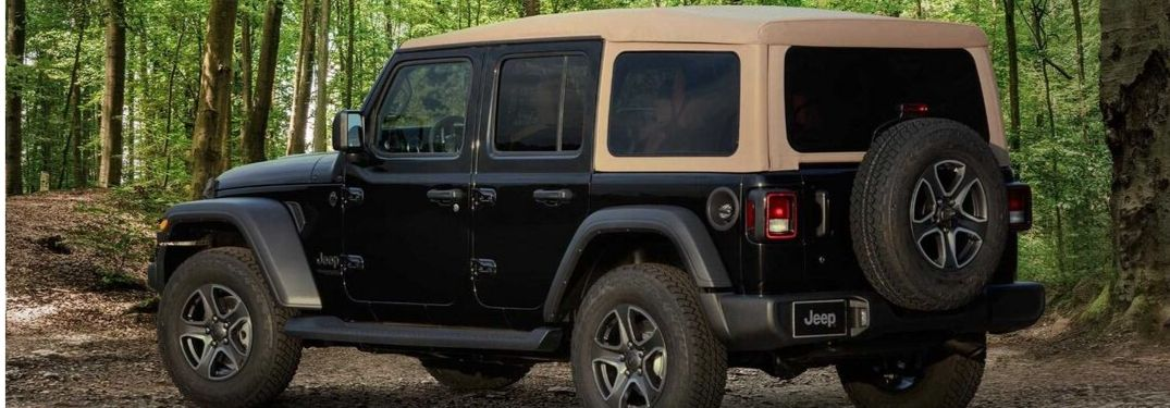 2020 Jeep Wrangler Black & Tan Edition viewed from rear