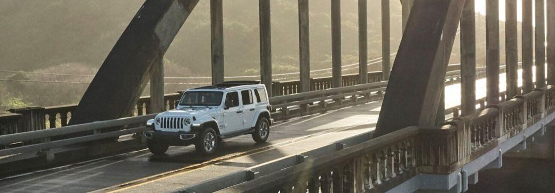 2020 Jeep Wrangler on city bridge