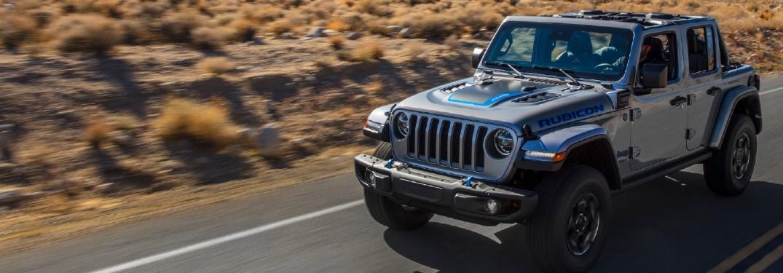 2021 Jeep Wrangler on road in desert